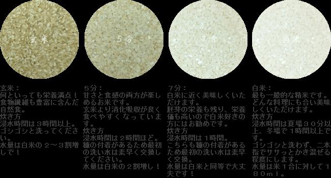 精米方法、玄米、5分、7分、白米